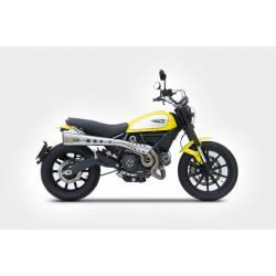 Double ligne haute short échappement moto inox Zard pour Ducati Scrambler