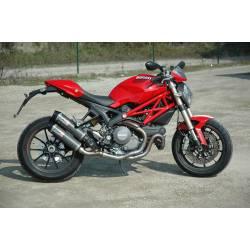 Double échappement titane Ducati Monster 1100 EVO embouts noirs