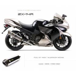 Ligne complète échappement M2 en aluminium poli Kawasaki ZZR1400