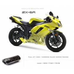 Ligne complète échappement M5 en carbone option black séries Kawasaki ZX6R