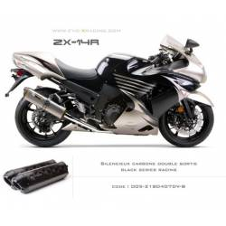 Double échappement M2 en carbone option black séries Kawasaki ZZR1400