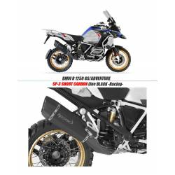 Echappement HP Corse SP-3 SHORT CARBON inox noir RACING BMW R 1250 GS