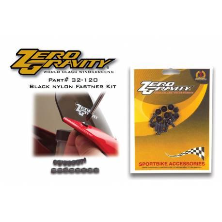 Kit 8 vis et écrous plastiques noirs pour Bulle 9 x 16 mm