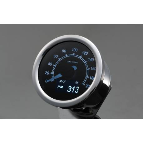 Compteur de vitesse Daytona moto OLED 200 Km-h inox 60 mm