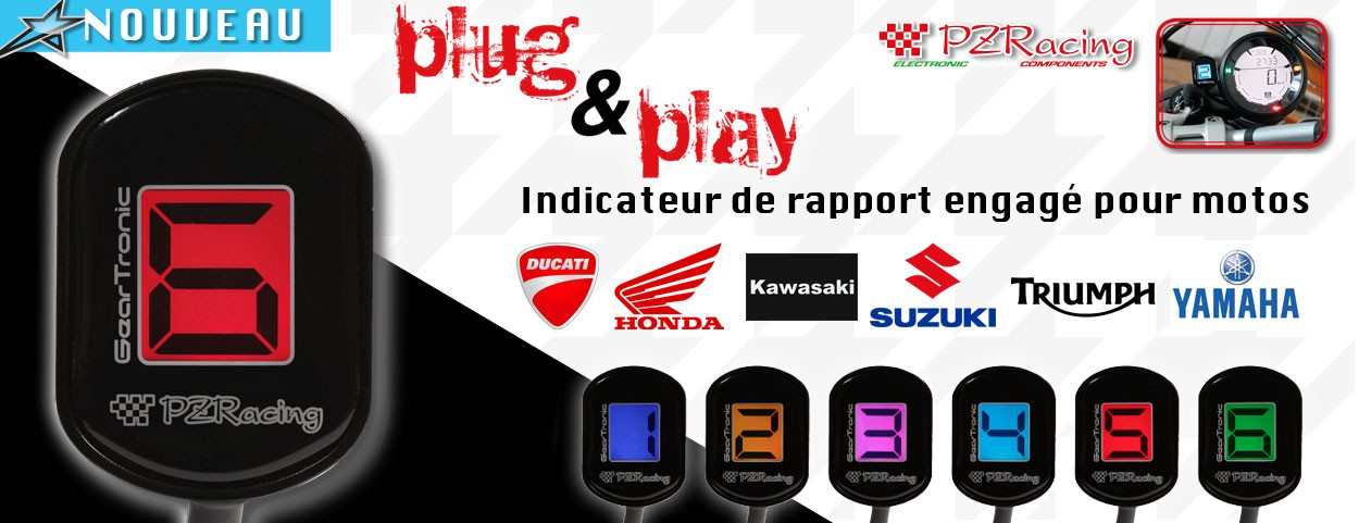 Indicateur de rapport engagé moto PZ Racing Starshop